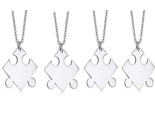 lisiertes Namens- und Datums-Puzzlespiel-Stück-Halsketten-Geschenk, BFF Brautjungfern-Abschluss Freund-Puzzlespiel für 2 3 4 ()