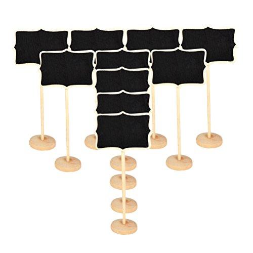 Mcuilee mini irregolare lavagna lavagnette messaggi di legno in legno con targhetta matrimonio numero etichetta/partito impostazione decorazione,set da 10