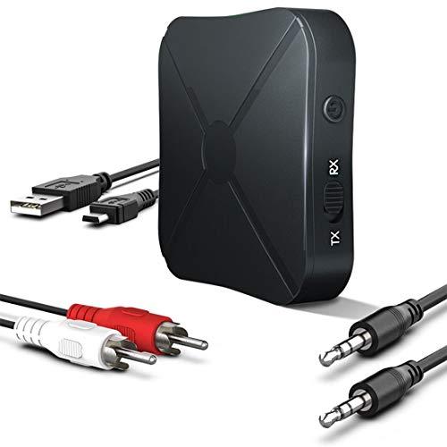 Trasmettitore e Ricevitore 2-in-1 Bluetooth 4.2, Trasmettitore/Ricevitore Wireless 2 in 1 Portatile, Dispositivi Audio da 3,5 mm, A2DP, Supporta aptX, Trasmissione Audio per Auto/TV / PC/Stereo - Bluetooth A2dp Stereo Audio