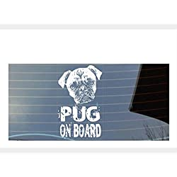 Pegatina para coche, diseño con texto Pug on board, color blanco