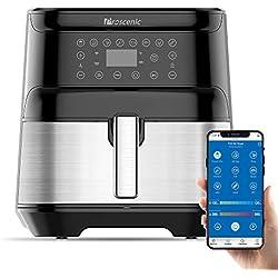 Proscenic T21 friteuse à air,Application et Alexa,friteuse électrique sans huile 5.5L,avec Écran Tactile LED,Fonction de combinaison.