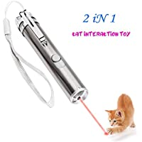 2 in 1 Multi Function Crazy Chase Cat Chaser Toys, LED Pet Red Dot Toys/Flashlight/Interactive Pet Toys - Exercise Toy Cat Training Tool By GILGAMESH