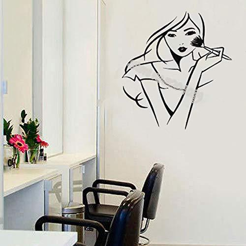 Versace Pinsel (yaoxingfu Schönes Mädchen Make-up Mit Einem Make-up Pinsel Wandtattoo Schönheitssalon Kosmetik Shop Mädchen Raumdekor Poster Adesivo De Parede gelb 42x45cm)