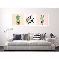 Plantas,macetas,cactus,amor,verde_Arte de la pared Pintura al óleo Imagen en lienzo Decoración del hogar,3 paneles,40x 40 CM,Sin marco