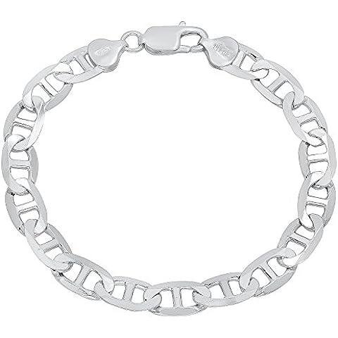 Da uomo, 8 mm, in argento Sterling 925-Braccialetto a maglie marine - 8 Flat Marina Catena