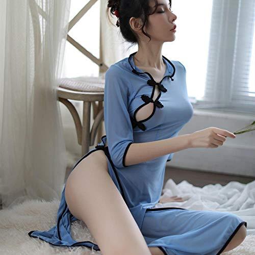lightmhy Bekleidung & Schuhe für Modepuppen Erotische Damen-Höschen Neue sexy Dessous Frauen Uniform Mesh Gaze Perspektive sexy Republik China Student Kleid Lange Blaue Einheitsgröße