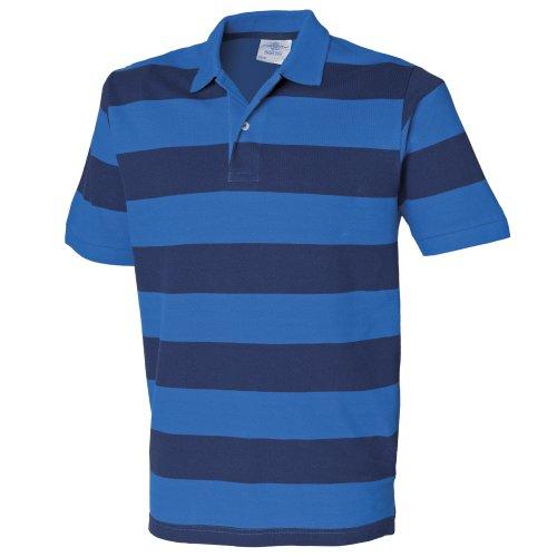 Front Row Herren Polo-Shirt gestreift, Kurzarm Dunkelblau/Pink