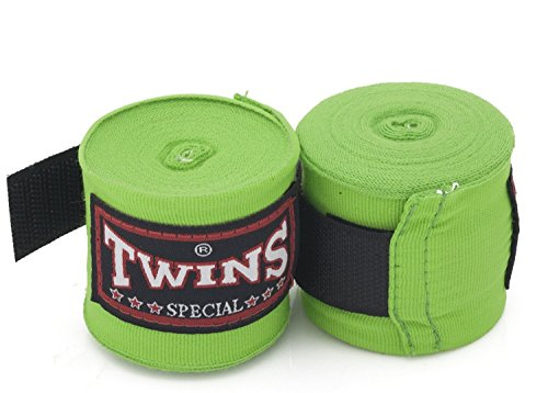 Twins Special Muay Thai Boxing Hand Wraps aus Baumwolle Solid Farbe hellgrün -