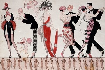 Digitaldruck / Poster Georges Barbier - Tango - 103 x 70cm - Premiumqualität - Art Deco, Kostüme, Damen, Herren, Federboa, Kopfschmuck, Tanz, Cupido, Amor, freizügi.. - MADE IN GERMANY - ART-GALERIE-SHOPde
