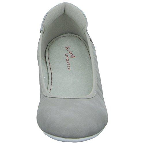 living Updated 0428A Damen Ballerina flacher Boden ohne ausgeprägten Absatz Grau (Grau)