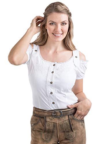 Schöneberger Trachten Couture Trachtenbluse Alpenklee - Elegante, Karierte Bluse im Carmenstil mit Stickereien - tailliert & verstellbar (38, Weiss)