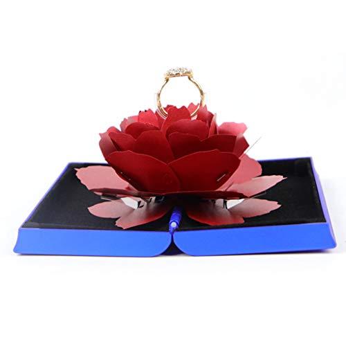 Valentinstag-Karte, Ring Box Rose Blume Verlobungsring Box Ring Bearer Box zum Valentinstag, I love you Herz, blau & rot, 3D-Pop-Up-Karte Valentinstag, Hochzeitskarte, Hochzeit, Liebe (Blau) (Pop-art-ringe-handwerk)