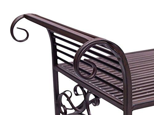 Gartenbank Eisen Metall Antik-Stil Garten Bank Gartenmöbel braun 70cm - 3