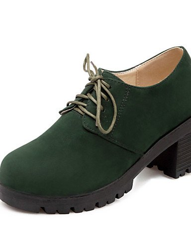 ZQ Scarpe Donna - Stringate - Formale - Punta arrotondata - Quadrato - Finto camoscio - Nero / Verde / Beige / Borgogna , black-us8 / eu39 / uk6 / cn39 , black-us8 / eu39 / uk6 / cn39 green-us7.5 / eu38 / uk5.5 / cn38