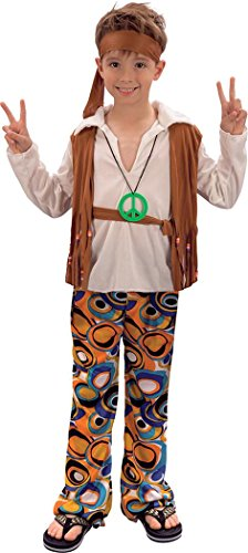 Kinder Party Buch, Woche Tag 1970er Fancy Kleid bis Hippie Boy Kostüm Outfit UK Gr. xl, Mehrfarbig - (Uk 1970 Fancy Dress Kostüme)