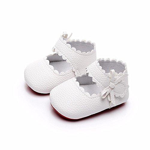 Unisex-Neugeborene Baby Kleinkind Schuhe, Anti-Rutsch Weiche Sohle PU Leder Baby Säugling Mädchen Jungen Princess Besondere Anlässe Taufe Hochzeit Party Schuhe für 0-18 Monate (0-6M, Weiß)