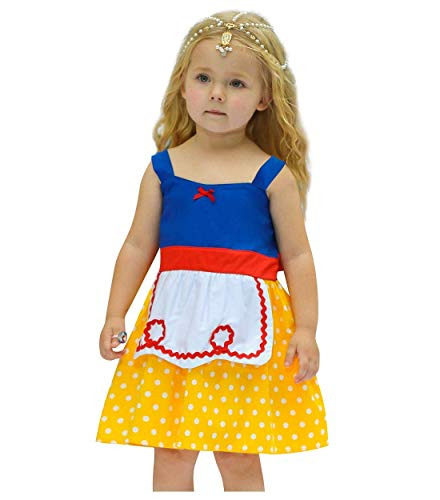 Fairy Snow Kostüm - Bobopai Baby Girls Princess Snow White Costume Fancy Fairy Dressing Up Cosplay Dress with Headwear (E90-yellow)