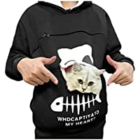 Auifor Frauen-Sweatshirt Animal Pouch Hood Tops Carry Cat Atmungsaktive Pullover-Bluse