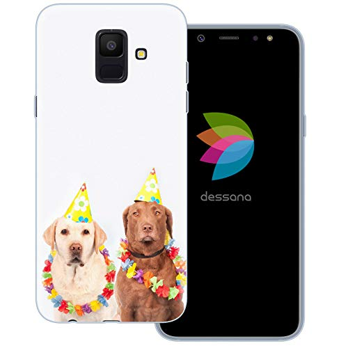 dessana Fasching Party transparente Schutzhülle Handy Case Cover Tasche für Samsung Galaxy A6 (2018) Kostüm - Narr Hunde Kostüm