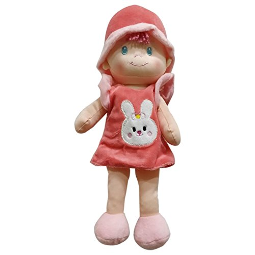 "My Baby Excels Imported Certified Safe 13"" Stuffed Cuddly Soft Toy/Plush Doll With Rabbit Print For Girls Of Age 1 Year And Above (En71), Peach"