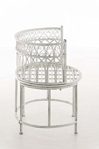 CLP Metall-Gartenbank AMANTI mit Armlehne, Landhaus-Stil, Eisen lackiert, Design antik nostalgisch, Form oval ca. 110 x 55 cm Antik Weiß - 3