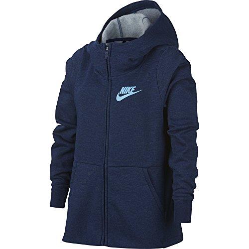 Nike Mädchen G NSW Hoodie Fz Pe Pullover, Blau Void/Htr/Blue Chill 478, 146 (Herstellergröße: Large) Ite Pullover Hoodie