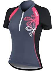 Santic Short Sleeve Breathable Wicking Fabric Cycling Jersey Women Top Dark Gray Size S by Santic