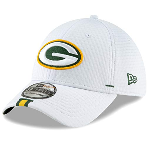 New Era - NFL Green Bay Packers On Field 2019 Training 39Thirty Cap - Weiß Größe M-L White Fitted Baseball Hut