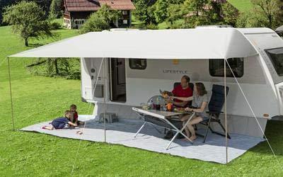 Berger Sonnenvordach Vario grau Sonnenschutz für Caravan und Wohnwagen in verschiedenen Größen (700 x 240 cm)