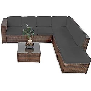 XINRO XXXL Polyrattan Lounge Set Lounge Möbel Lounge Sofa Garnitur - für 6 Personen mit Tisch, Fusskocker, Kissen - Rattan Garnitur Sitzgruppe - In/Outdoor - handgeflochten - braun