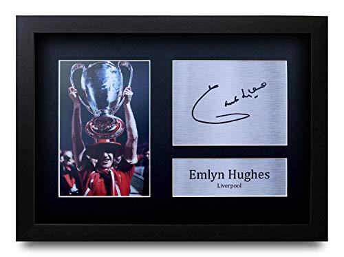 HWC Trading Emlyn Hughes A4 Gerahmte Signiert Gedruckt Autogramme Bild Druck-Fotoanzeige Geschenk Für Liverpool Fußball Fans -