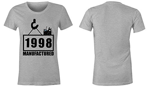 Manufactured 1998 - Rundhals-T-Shirt Frauen-Damen - hochwertig bedruckt mit lustigem Spruch - Die perfekte Geschenk-Idee (05) grau-meliert