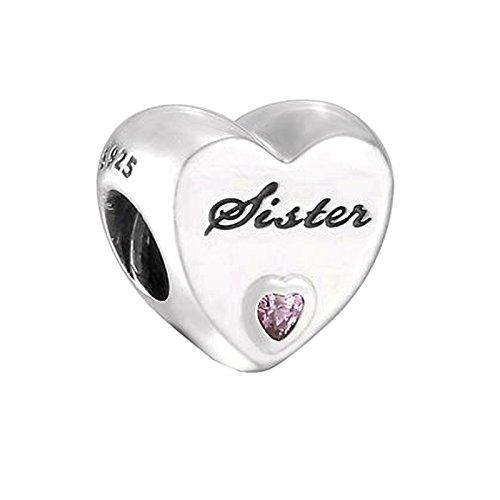 """COOLTASTE, charm con scritta """"Sister"""" (lingua italiana non garantita), ciondolo in argento Sterling 925 con zirconia cubica rosa, adatto per braccialetto Pandora e gioielli fai da t"""