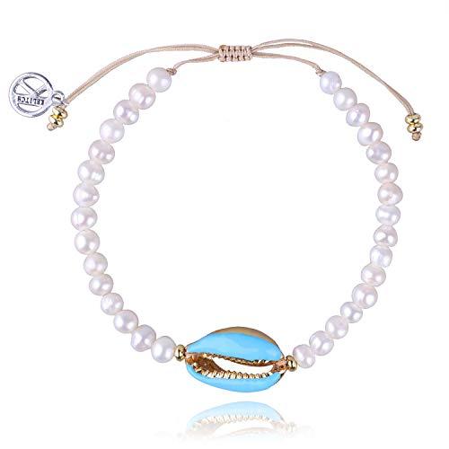 KELITCH Armbänder Damen Herren Japanische Conch Shell Perle Delicate Glänzende Perle Handgemachte Verstellbare String Bangle Freundschaft Charme Armband Frauen Männer (Blaue)