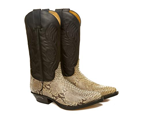 Sendra Boots Bota Western 2605 Pico en Pitón Natural y Cuero Negro 42 EU