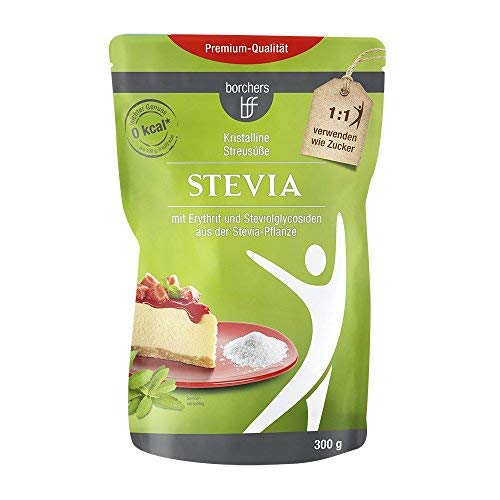 8 x borchers bff Stevia Kristall, mit Erythrit, Kalorienfrei, Zuckeralternative, Süßungsmittel 300g