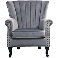 Warmiehomy Armchair Velvet Upholstered Accent Chair Armchair Wing Back Fireside Chair with Solid Wooden Legs for Living Room Bedroom (Grey)