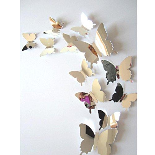 sunshineBoby 12 Pcs Wandaufkleber Aufkleber Schmetterlinge 3D Spiegel Wandkunst Home Dekore,wandtattoos Ronamick 12 Stücke 3D Hohlwandaufkleber Schmetterling Kühlschrank für Heimtextilien Neu Wandtattoo Wandaufkleber Sticker Wanddeko für Schlafzimmer Wohnzimmer Kinderzimmer (Silber)