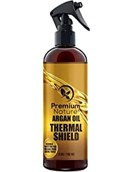 Argan Oil Hair Protector Spray - 118 ml Thermal Heat Protectant Against Flat Iron - Sulfate Free 100% Organic & Natural Prevents Damage Dryness Breakage & Split Ends Premium Nature