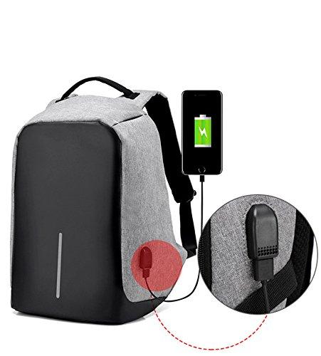 Fastar Business zaino per laptop con porta USB di ricarica, antifurto grande capacità zaino da viaggio scuola Bookbag per notebook computer, Business, viaggio, lavoro, Grey