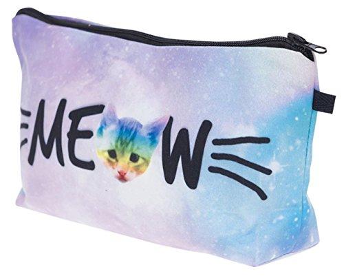 Kukubird Divertimento Nuovo Animale Foto Modello Stampa Make-up Bag Con Sacchetto Di Polvere Di Kukubird Meow Rainbow Cat