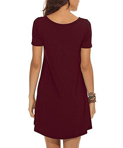 VIISHOW Damen Kurzarm beiläufige lose T-Shirt Kleid Weinrot