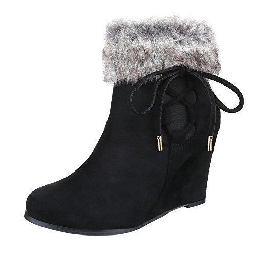 Keilstiefeletten Damen Schuhe Plateau Keilabsatz/ Wedge Keilabsatz Reißverschluss Ital-Design Stiefeletten Schwarz