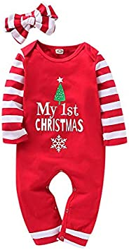 My 1st Christmas Newborn Infant Baby boy Girl Clothes Print Striped Jumpsuit Romper Pajama+Striped Headband Ou