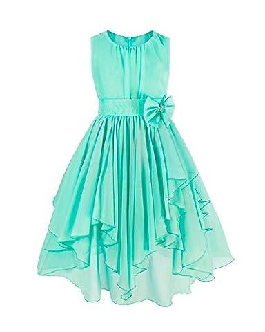 iEFiEL Flower Girls' Dress Chiffon Asymmetric Ruffled Wedding Party Dresses Turquoise 7-8 Years