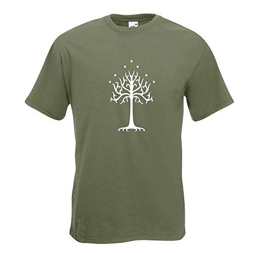 KIWISTAR - der Weiße Baum Gondors T-Shirt in 15 verschiedenen Farben - Herren Funshirt bedruckt Design Sprüche Spruch Motive Oberteil Baumwolle Print Größe S M L XL XXL Olive