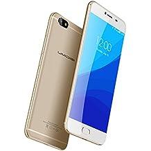 "UMIDIGI C NOTE - Smartphone libre 4G LTE Android 7.0 (Pantalla HD 5.5"", Dual Sim, MTK6737T Quad Core 1.5Ghz, 32GB de memoria interna, 3 GB de RAM, cámara de 13Mp/5MP, 3800mAh Batería, 0.1s ID de huellas dactilares, WiFi, GPS, OTG) (Dorado)"