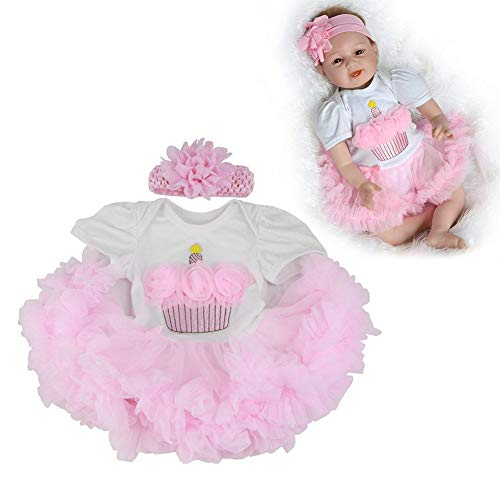 feiledi Trade Puppe Kleidung Outfits Kleider Kleidung, Rosa Haarband + rosa Kleid, Reborn Puppenzubehör Mädchen Puppe Kleidung Kinder Spielzeug, Handmade Schöne Baby Doll Kleidung Outfits ()