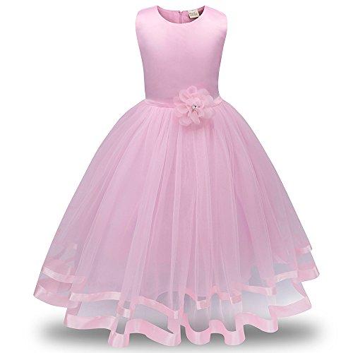 Honestyi BabyBekleidung Blumenmädchen Prinzessin Brautjungfer Pageant Tutu Tüll Kleid Party Hochzeitskleid (140,Rosa)