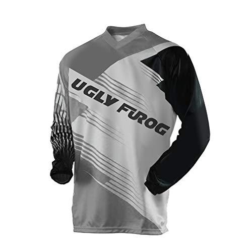 Uglyfrog Element FR Langarm Jersey MTB DH Rot Grau Mountain Bike Moto Cross Downhill Shirt -